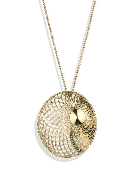 Metamorphosis Pendant, 18ct gold and black diamonds